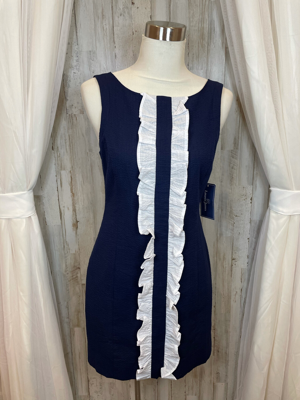 Lauren James Navy Tank Dress w/White Ruffle Accent - S