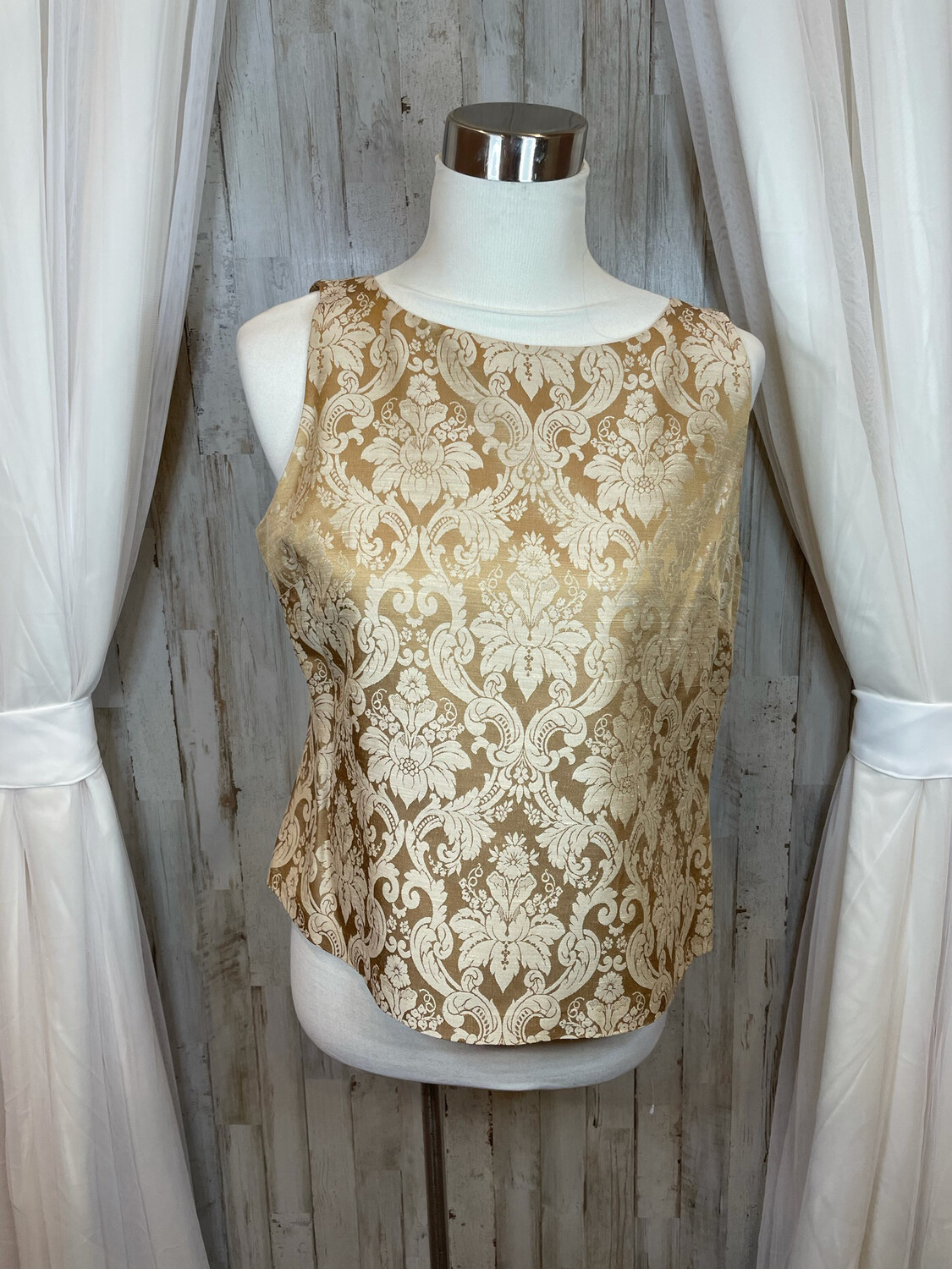 Joesphine Chaus Gold Demask Top - Size 12P
