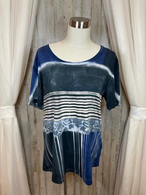 Ma+Ch Blue & Gray Striped & Tie Dye Top - Size 4