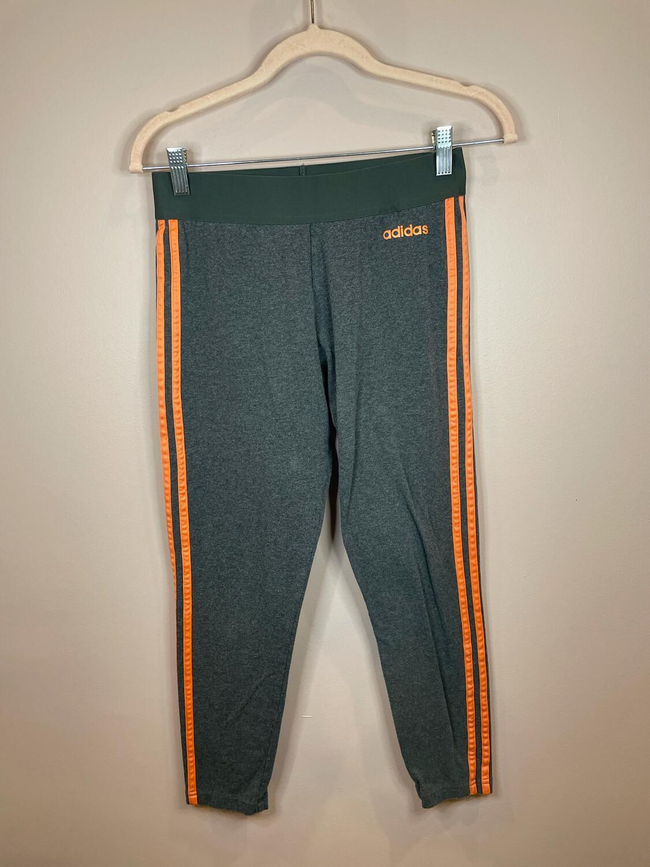 Adidas Gray Athletic Pants with Orange Stripe - M