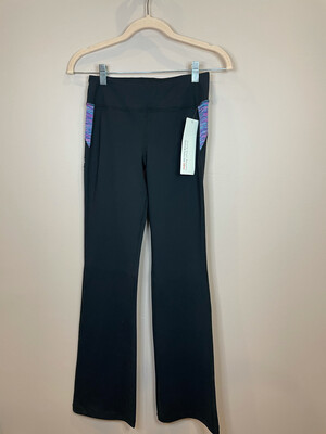 Tonic Black Yoga Pants w/ Colorful Waistband - XS