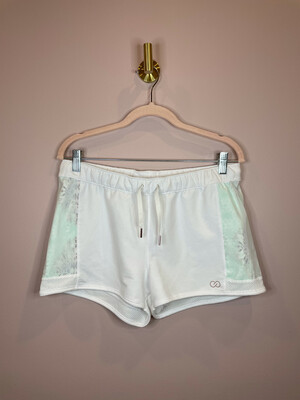 Calia White Athletic Shorts with Side Sheer Accent - S