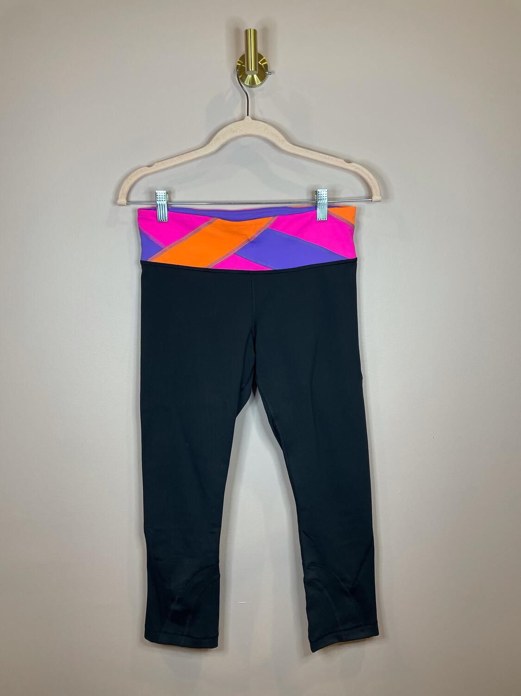 Lululemon Black Cropped Leggings w/ Colorful Band - Size 6