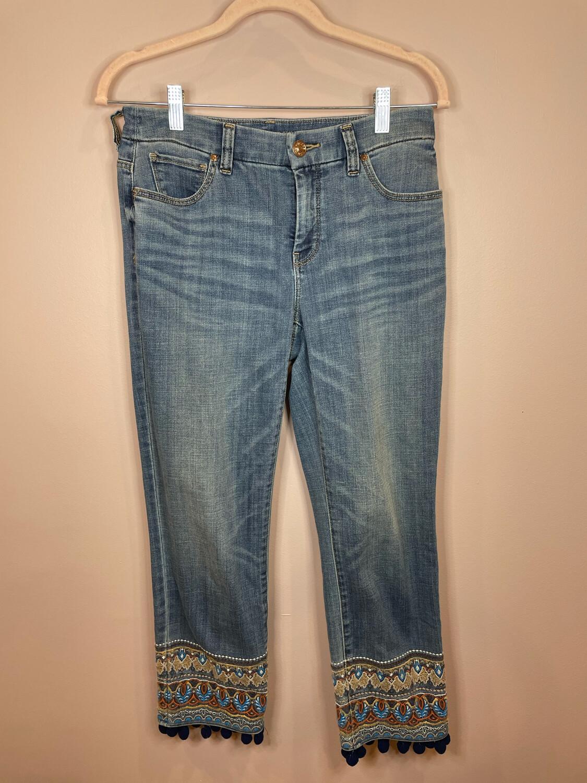 Chico's Girlfriend Slim Leg Crop Jeans w/Embroidery - Size 00