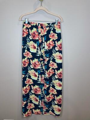 Peach Love Black Floral Maxi Skirt/Shorts - S