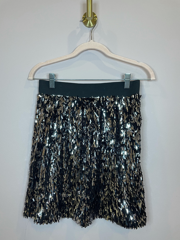 Stella & Dot Black Straight Sequin Skirt - S