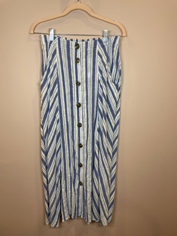 Kori Blue & White Striped Button Up Skirt - S