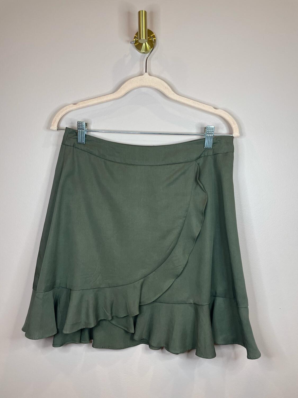 Gianni Bini Olive Ruffle Skirt - M
