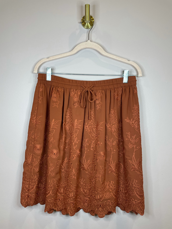 LOFT Rust Embroidered Skirt - M