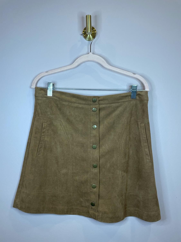 Sans Souci Brown Suede Button Up Skirt - L