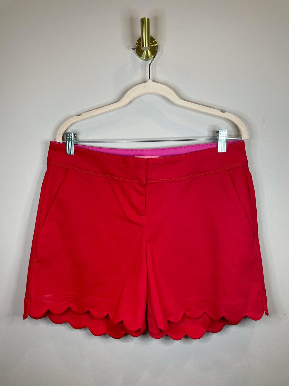 Isaac Mizahi Red Scalloped Shorts - Size 8
