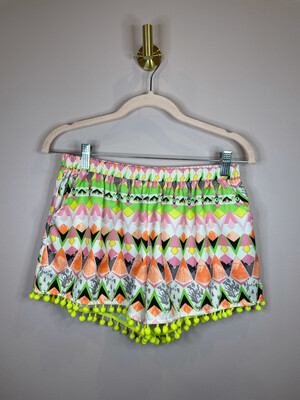 Umgee Colorful Patterned Pom Pom Trim Shorts - M