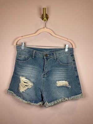 Denim Distressed Cutoff Shorts - S