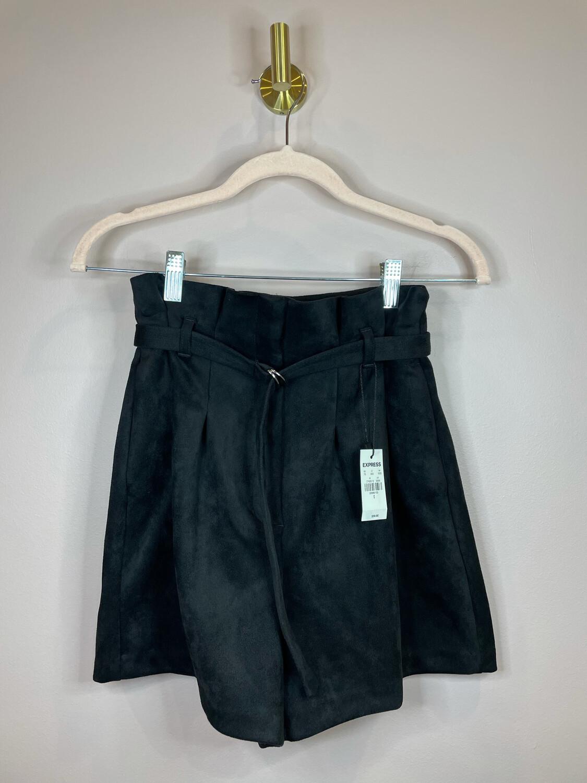 Express Black Suede Belted Shorts - Size 0