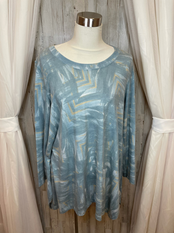 Philosophy Blue & Mustard Pattered Long Sleeve Top - XL