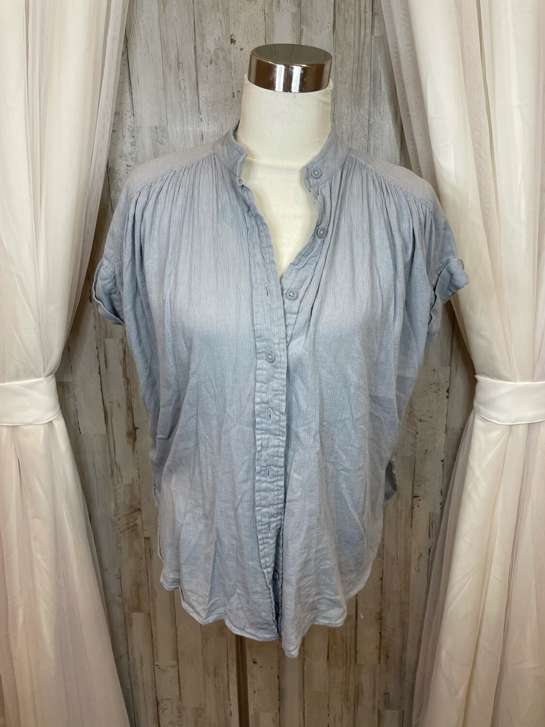 Silence + Noise Blue Button Up Top - M