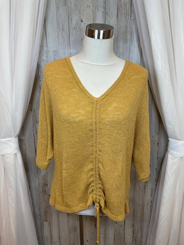 Illa Illa Mustard Knit Cinch Up Tie Sweater - M