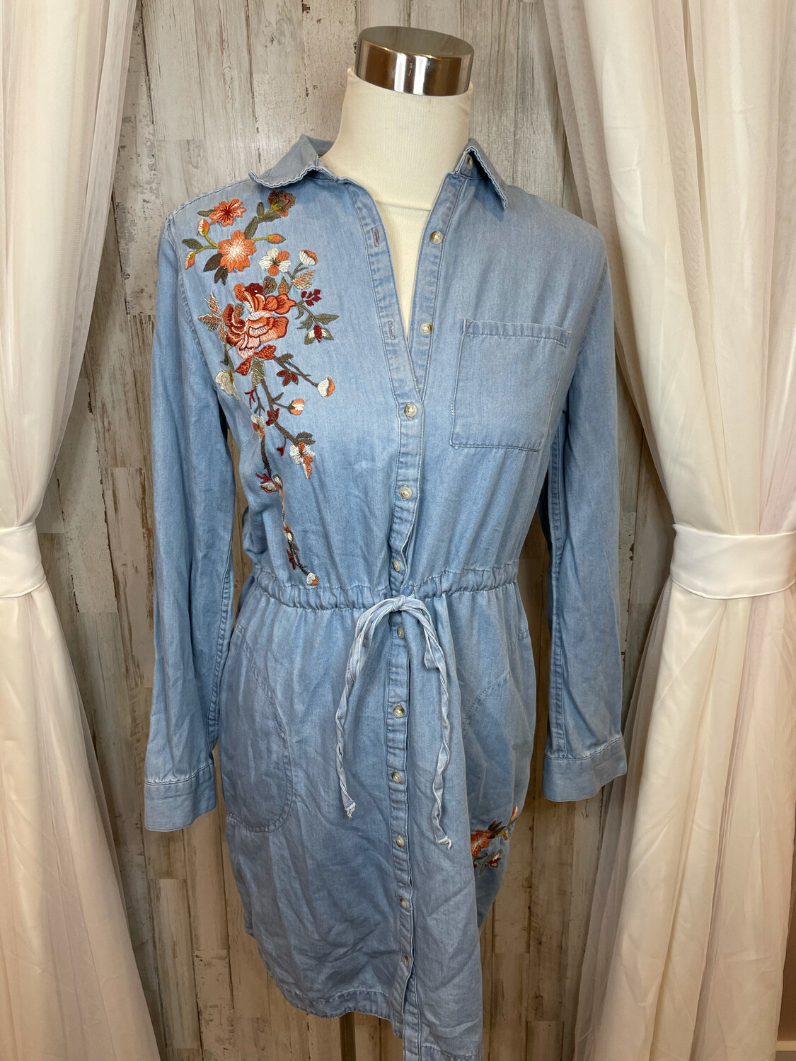 A.N.A. Chambray Floral Embroidered Drawstring Dress - S