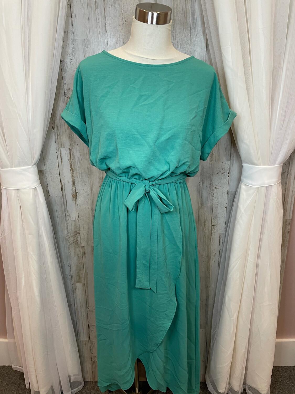 First Love Green Belted Maxi Dress - L