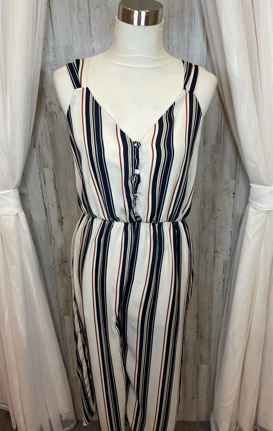 Sienna Sky Cream & Navy Striped Cropped Jumpsuit - L