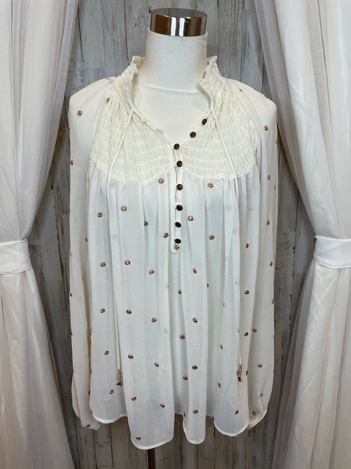 Free People White Sheer Top W/ Gold Dots - L