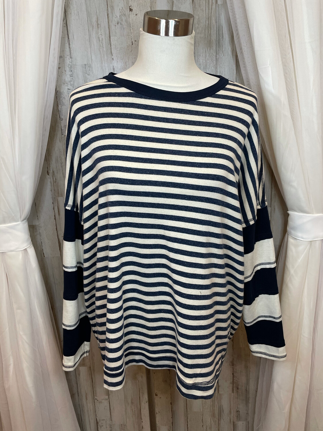 Easel Navy & White Striped Long Sleeve Top - M