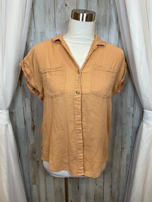 Thread & Supply Muted Orange Button Up Top - S