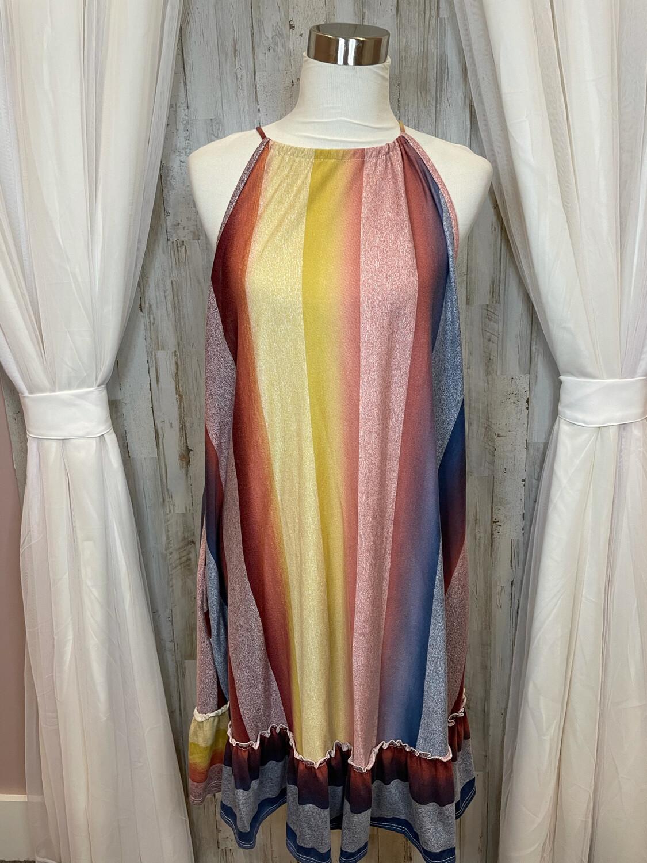 My Story Colorblock Ruffle Bottom Dress - L