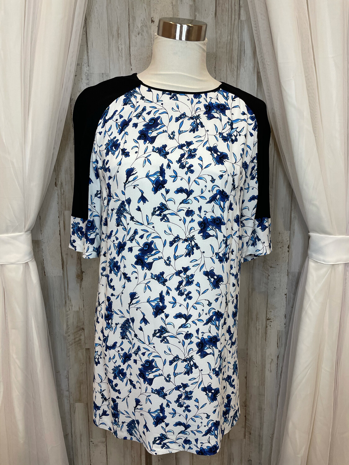 French Connection Blue Floral Dress with Sheer Accent - Size 4