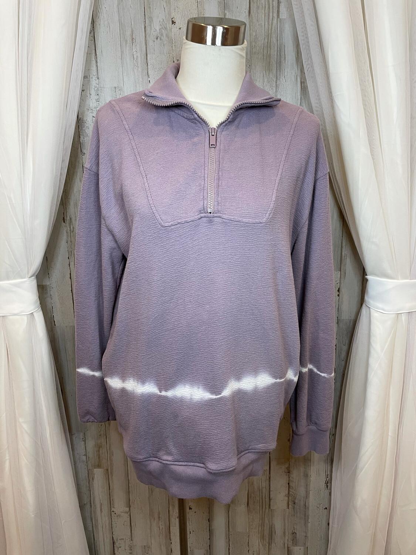 Mono B Purple & White Tie Dye Half Zip Sweatshirt - M