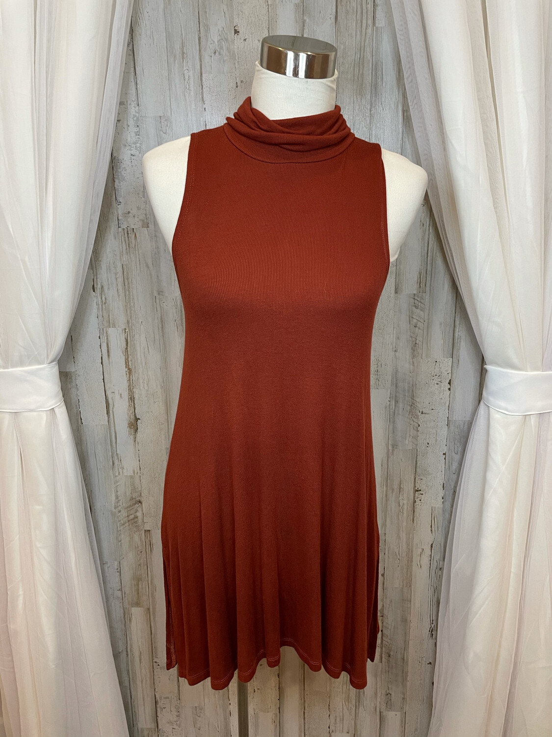 9-H15 STCL Rust Mock Turtle Neck Ribbed Tank Dress - M