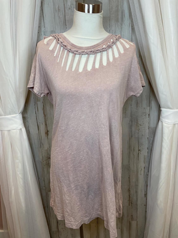 KLd Dusty Rose Dress w/ Distressed Neckline - M