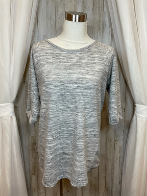 Cherish Grey & White Heathered Top - M