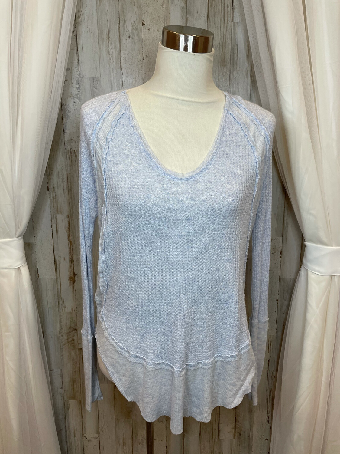 We The Free Light Blue Waffle Knit Long Sleeve Top - XS