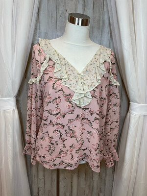 DR2 Pink Floral Ruffle Sheer Top - M