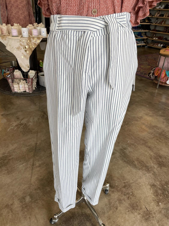Eva Mendes White & Blue Striped Pants w/Tie - M