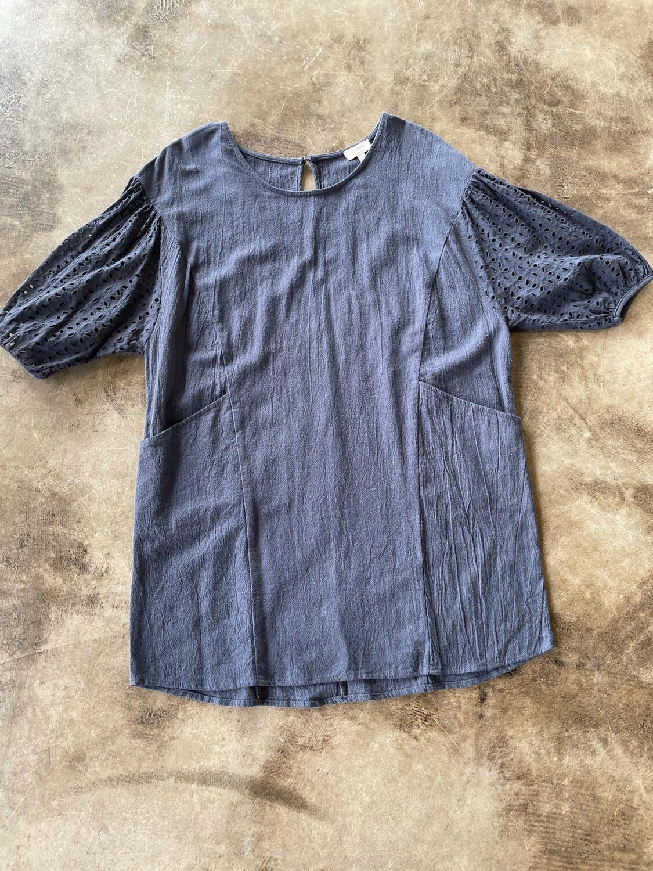 Umgee Steel Blue Pocket Dress w/Eyelet Sleeve - M