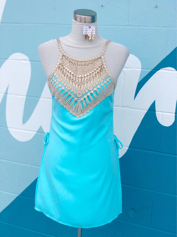 Lilly Pulitzer Aqua w/ Gold Detail Dress - Size 00