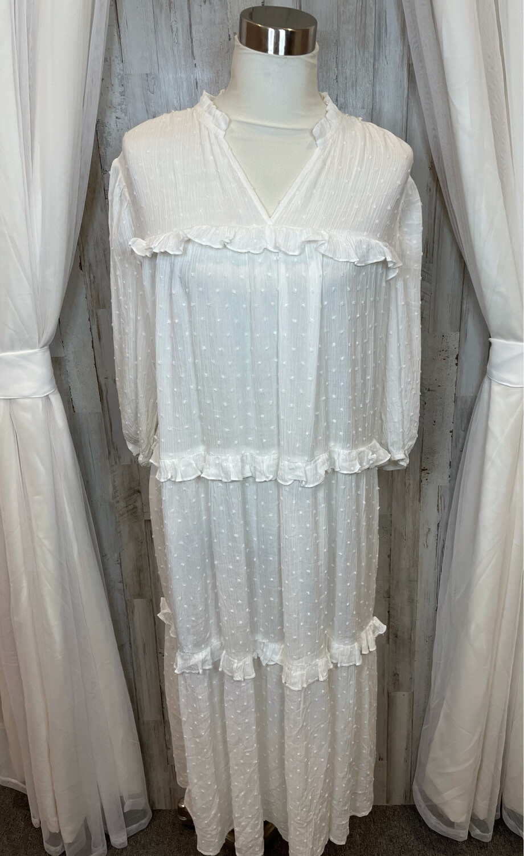 Painted Threads White Layered Ruffle Dress - L