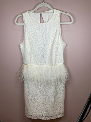 White Lace Dress w/Feathered Accent - S/M