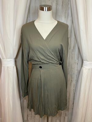 Asos Hunter Green Button Dress - Size 8