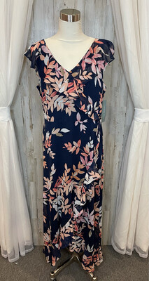 London Times Navy Dress w/Pink Floral Print & Ruffle - Size 14