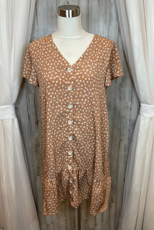 L Love Peach Button Up Dress w/Ruffle Accent - M