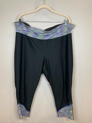 Xersion Black Crop Athletic Pants w/Multicolor Accent - 2X