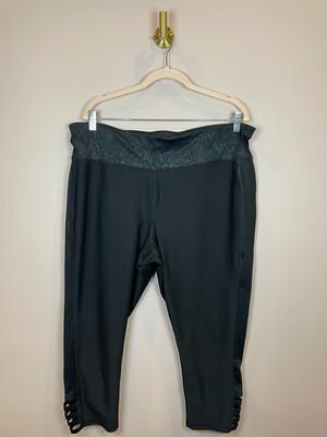 Xersion Black Athletic Pants w/Snakeskin Print Accent  - 2X