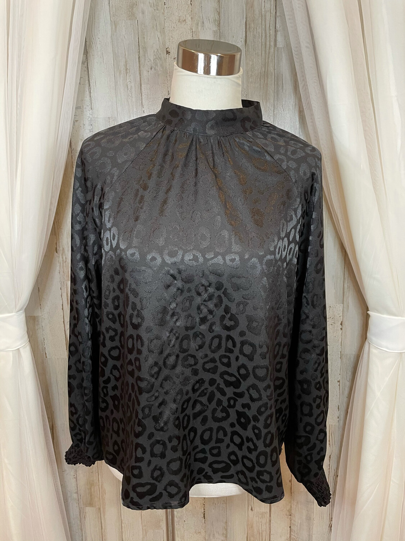 Vici Black Leopard Print Top - L