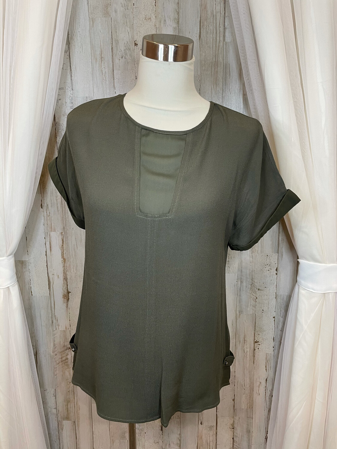 Doe + Rae Olive Top w/Sheer Accent - S