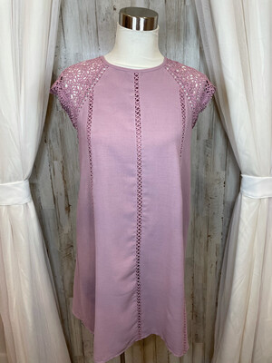 She & Sky Lilac Dress w/Lace Accent - M