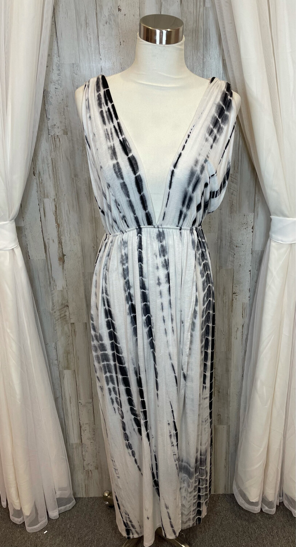 Audrey 3+1 Black & White Tye Dye Dress - OS