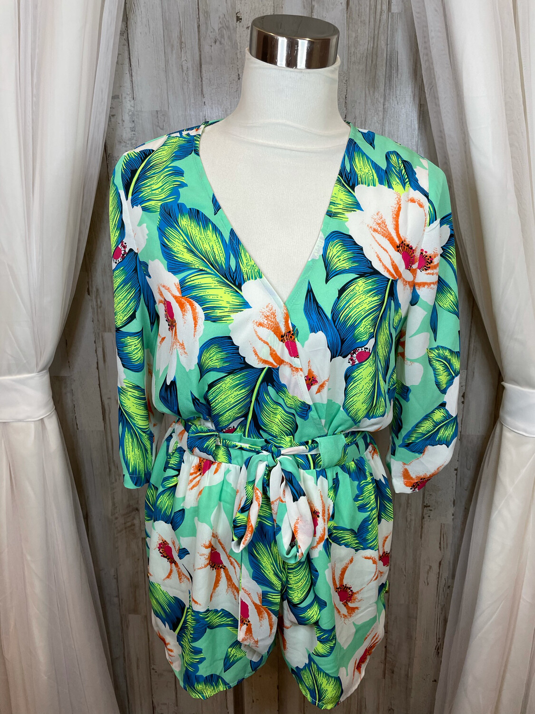 Gianni Bini Green Floral Shorts Romper - M